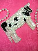 """Cow Applique Sequin Beaded Patch Motif White Black Self Adhesive 4"""" (LC1755)"""