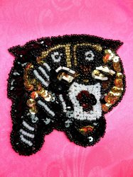 "LC1763 Self Adhesive Multicolor Tiger Beaded Sequin Applique 3"""