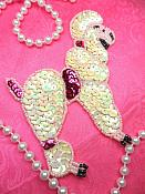 """Poodle Applique Sequin Beaded Patch Motif Pink Self Adhesive 4.5"""" (LC1764)"""