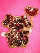 """Dog Applique Sequin Beaded Patch Motif Brown Self Adhesive 3.25"""" (LC1765)"""