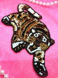 "LC1763 Self Adhesive Multicolor Tiger Beaded Sequin Applique 5"""