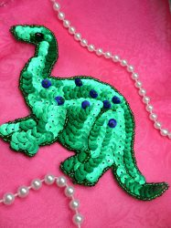 """LC1774 Self Adhesive Green Dinosaurs Beaded Sequin Applique 6"""""""