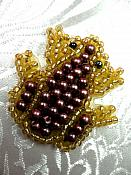 """Frog Applique Beaded Patch Motif Purple Self Adhesive 1.25"""" (LC1776)"""