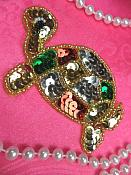 """Turtle Sequin Applique Beaded Patch Motif Gold Self Adhesive 3.5"""" (LC1780)"""