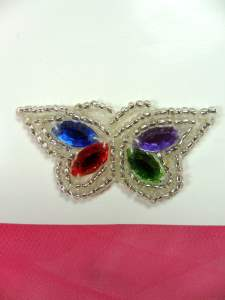 LC1788 Multi Colored Jewel Butterfly Beaded Applique 1.75""