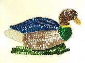 "Duck Sequin Applique Beaded Patch Motif Multicolor 6.75"" (LC1791)"