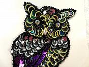 LC1795 Owl Bird Applique Sequin Beaded Patch 3.25""