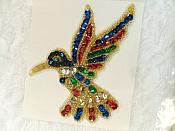 "Hummingbird Sequin Applique Beaded Patch Motif Multicolored 4.25"" (LC1804)"