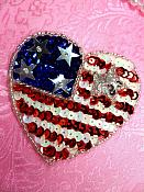 """Patriotic Heart Applique Sequin Beaded Patch Motif Red White Blue Self Adhesive 2.75"""" (LC1808)"""