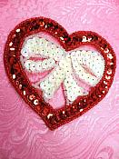 """Heart Sequin Applique Beaded Patch Motif Red White Self Adhesive 3.5"""" (LC1810)"""