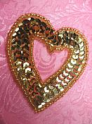 """Heart Applique Sequin Beaded Patch Motif Gold Self Adhesive 2.25"""" (LC1813)"""