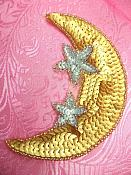 """Moon Applique With Stars Sequin Beaded Patch Motif Gold Silver Self Adhesive 3.75"""""""