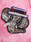 "Patriotic Elephant Applique Sequin Beaded Patch Motif Silver Self Adhesive 2.75"" (LC1819)"