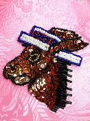 """Patriotic Donkey Applique Sequin Beaded Patch Motif Brown Self Adhesive 3.25"""" (LC1820)"""