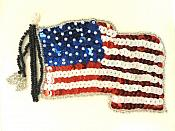 """American Flag Sequin Applique Beaded Patch Motif Multicolored 4.75"""" (LC1825)"""