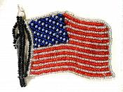 """American Flag Applique Beaded Patch Motif Red White Blue 3.5"""" (LC1826)"""