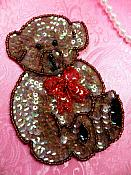"""Bear Sequin Applique Beaded Patch Motif Brown Self Adhesive 4.25"""" (LC1830)"""