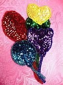 "Balloon Applique Sequin Beaded Patch Motif Multicolor Self Adhesive 3.75"" (LC1834)"