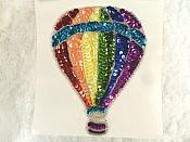 "Hot Air Balloon Applique Beaded Sequin Patch Motif Multicolored 5.5"" (LC1836)"