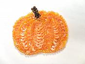 LC1841 Pumpkin Applique Orange AB Sequin Beaded Patch 2""