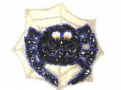 """LC1851 Spider in Web Sequin Applique w/Beads 4"""""""