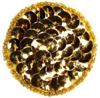 LC271  Gold Dot Round Circle Sequin Beaded Applique  1.5""