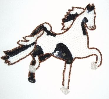 LC307  Black White Horse Beaded Sequin Applique 6""
