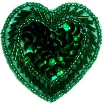 "LC353  Green Heart Sequin Beaded Applique  2.25"""