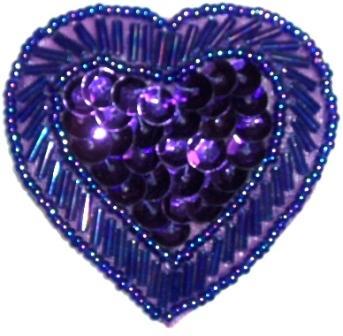 """LC353  Purple Heart Sequin Beaded Applique  2.25"""""""
