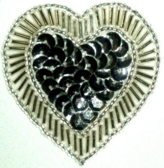 """LC353  Silver Heart Sequin Beaded Applique  2.25"""""""