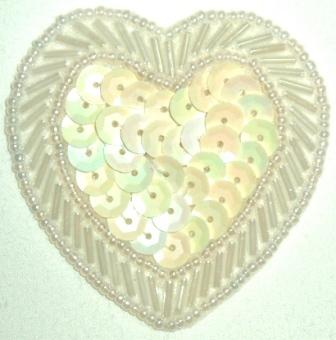 """LC353  White AB Heart Sequin Beaded Applique  2.25"""""""