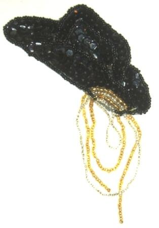 LC521  Cowboy Hat w/ lasso Sequin Beaded Applique 4""