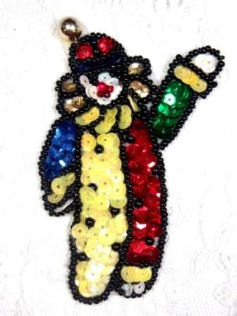 "LC536  Clown Sequin Beaded Applique 3.5"""