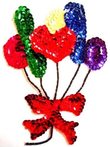 "LC63  Balloons Sequin  Beaded Applique 6.5"""
