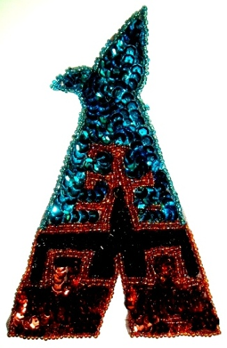 LC67 Indian Tepee Brown/Turquoise Sequin Beaded Applique 5.5""