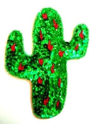 LC74 Cactus Green/Red Sequin Beaded Applique 6""