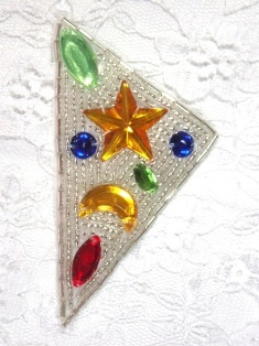 "MA82 Silver Beaded Jewel Hair Bow / Brooch / Applique  2"""