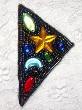 "MA82  Black AB Beaded Jewel Hair Bow / Brooch / Applique  2"""