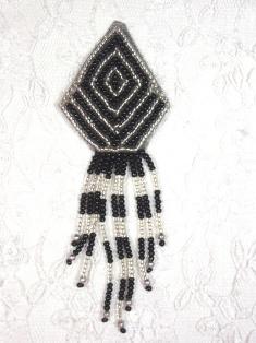 "MA109 Black & Silver Beaded Dangle Hair Bow / Earrings / Brooch / Applique 4"""