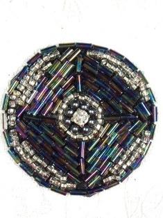 """MA120 Black AB Silver Round Beaded Rhinestone Hair Bow / Brooch / Applique 1.75"""""""