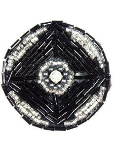 "MA120 Black Silver Round Beaded Rhinestone Hair Bow / Brooch / Applique 1.75"""