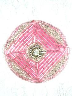 "MA120 Pink Silver Round Beaded Rhinestone Hair Bow / Brooch / Applique 1.75"""