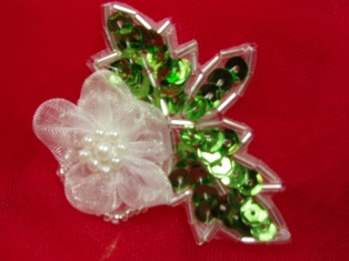 """MA125G  White Floral  Beaded Sequin Applique 2.5"""""""