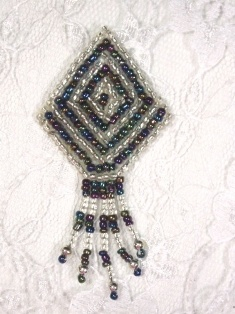 "MA126 Black AB Silver Beaded Dangle Earrings / Brooch / Hair Bow Applique 2.75"""