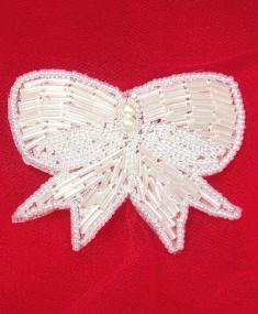 """MA126C White Pearl Beaded Hair Bow / Brooch / Applique 3"""""""
