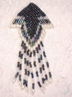 "MA126 Black AB White Pearl  Beaded Dangle Hair Bow / Earrings / Brooch / Applique 4"""