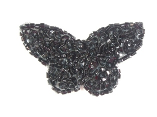 """MA160 Black Beaded Sequin Butterfly Brooch / Earrings / Applique 2"""""""