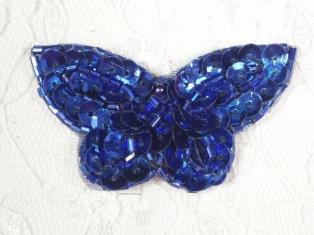 """MA160 Blue Beaded Sequin Butterfly Brooch / Earrings / Applique 2"""""""