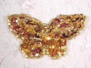 "MA160 Gold Beaded Sequin Butterfly Brooch / Earrings / Applique 2"""