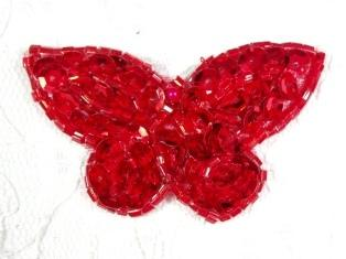 "MA160 Red Beaded Sequin Butterfly Brooch / Earrings / Applique 2"""